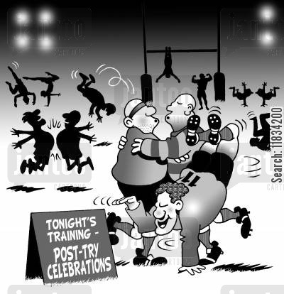post try celebrations cartoon humor: Tonight's Training - Post-Try Celebrations