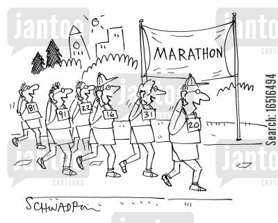 long distance runner cartoon humor: Marathon Runners all on the phone.