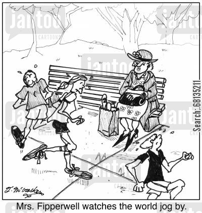 public parks cartoon humor: 'Mrs. Fipperwell watches the world jog by.'