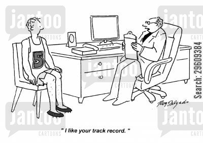 sprints cartoon humor: 'I like your track record.'