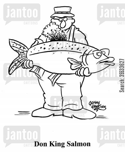 boxing promoter cartoon humor: Man holding big fish with afro dorsal fin: 'Don King Salmon'