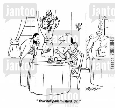 stadiums cartoon humor: 'Your ball park mustard, Sir.'