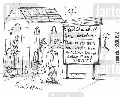 sundays cartoon humor: Church for sports worshipers.