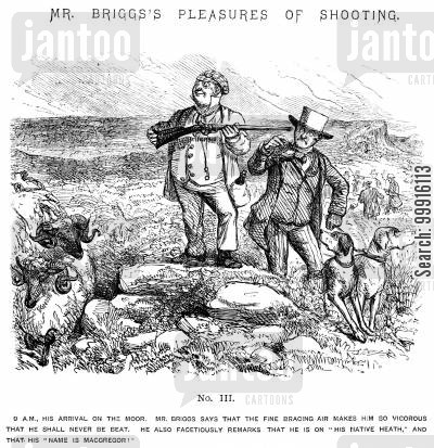 facetious cartoon humor: Mr Briggs's Pleasures of Shooting - No. III