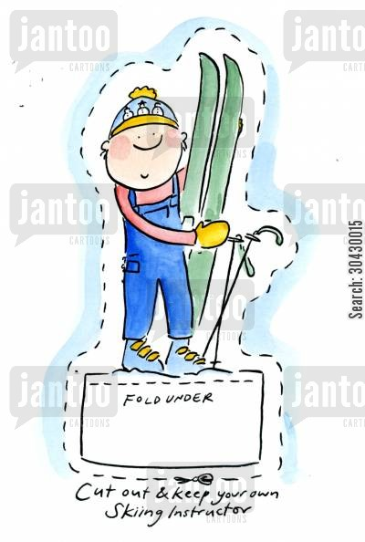 paper cut-out cartoon humor: Cut out and keep Skiing Instructor