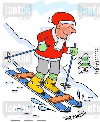 training wheel cartoon humor: Skis with stabilisers.