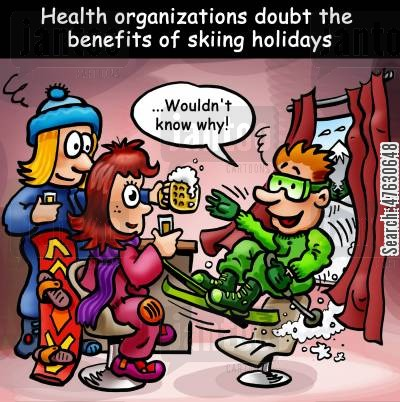 doubt cartoon humor: Health organizations doubt the benefits of skiing holidays.
