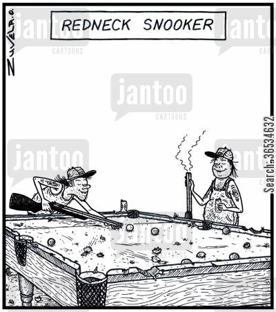 bar game cartoon humor: Redneck Snooker