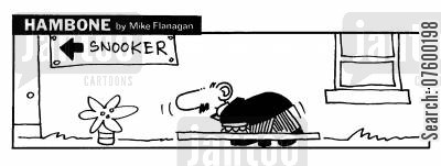 snooker players cartoon humor: STRIP Hambone: Bent snooker player