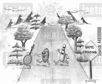 roadsign cartoon humor: A football, tennis racket, and a bowling pin are running across road. . . A nearby road sign reads: 'GAME CROSSING.'