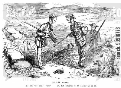 moorland cartoon humor: Men shooting both claim the same bird