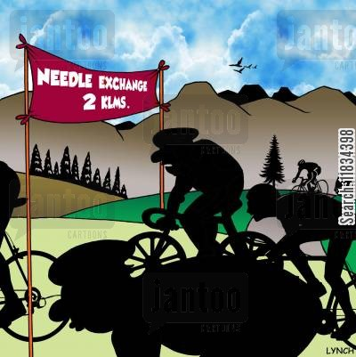 performance enhancing drugs cartoon humor: Needle exchange