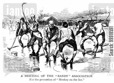 meetings cartoon humor: 'A meeting of the 'Bandy' association for the promotion of 'Hockey on the ice.''