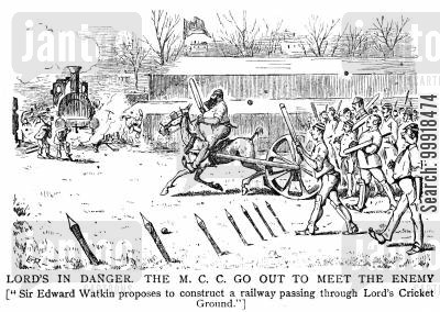 cricket team cartoon humor: The M.C.C. march out to protect Lords from a proposed railway construction.