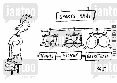 sports bra cartoon humor: Sports bras - different bras with sports balls for cups.