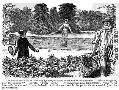 curates cartoon humor: Gardener misunderstands the phrase 'forty-love'.
