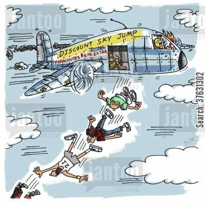 parachute jumps cartoon humor: Discount Sky Jump,