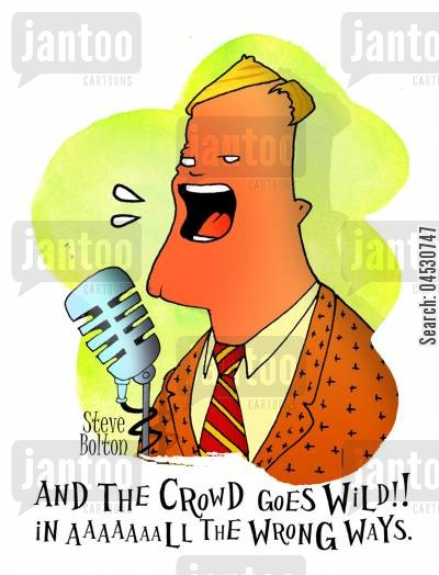 audience cartoon humor: 'And the crowd goes wild! In all the wrong ways.'