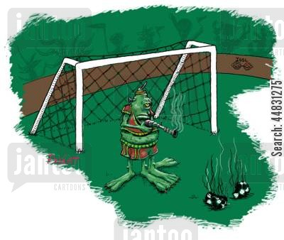 football match cartoon humor: An 'out of this-world' soccor player stops the penalty his way!
