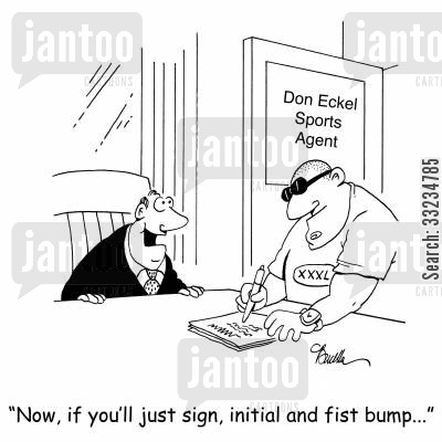 initial cartoon humor: 'Now, if you'll just sign, initial and fist bump...'
