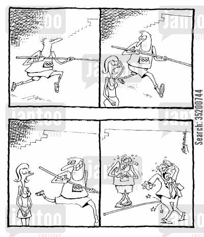 distraction cartoon humor: Javelin thrower distracted by a pretty woman stabs man with javelin