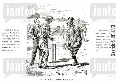 rule cartoon humor: Cricketers discussing leg before wicket