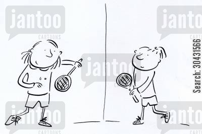 badminton cartoon humor: Squash.