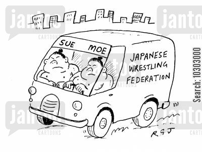 sumo wrestlers cartoon humor: Japanese Wrestling Federation.
