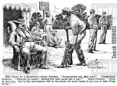 sweltering cartoon humor: Batsman congratulated for getting out first ball in the hot weather.