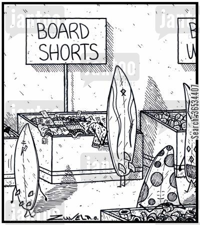 menswear cartoon humor:  A Surfboard checking out a new pair of Board shorts to buy