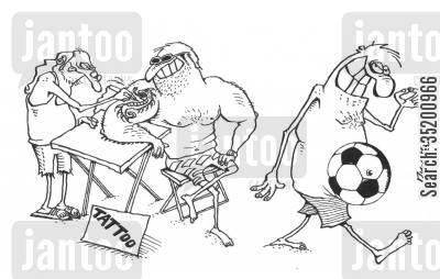 guts cartoon humor: Man with a football tattooed onto his stomach.