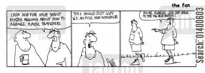 sunday league cartoon humor: STRIP *The Fan * Player Transfers