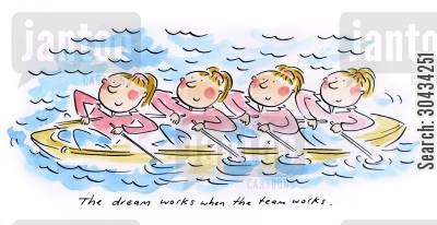 teambuilding cartoon humor: The dream works when the team works