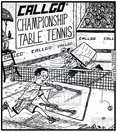 rackets cartoon humor: Callgo Championship Table Tennis - two competitors playing a game of tennis with tables.