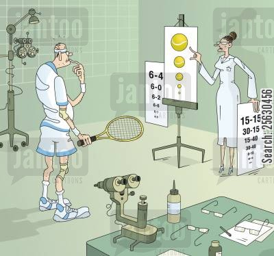 ophtalmologist cartoon humor: Senior tennis player having a tennis-oriented vision check-up.