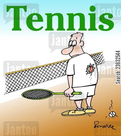 tennis balls cartoon humor: Tennis player.