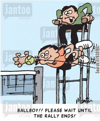 tennis players cartoon humor: Ballboy! Please wait until the rally ends!