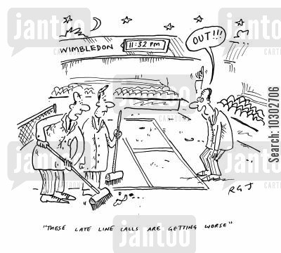 late night call cartoon humor: 'These late line calls are getting worse.'