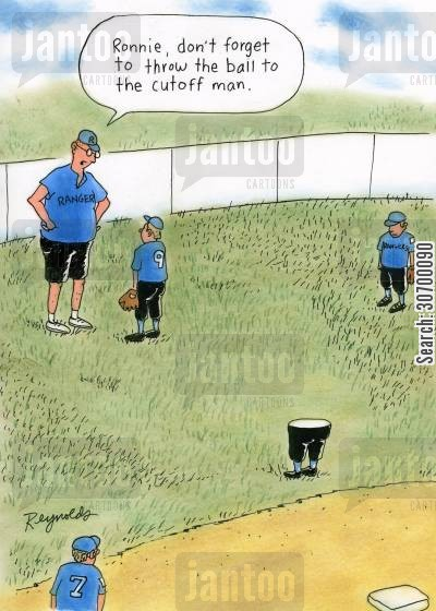 home plate cartoon humor: 'Ronnie, don't forget to throw the ball to the cutoff man.'