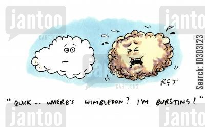 tournaments cartoon humor: 'Quick...where's Wimbledon? I'm bursting!'