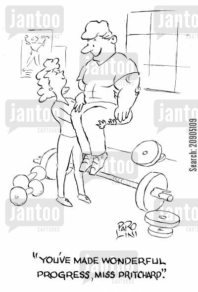 gym instructor cartoon humor: 'You've made wonderful progress,Miss Pritchard.'