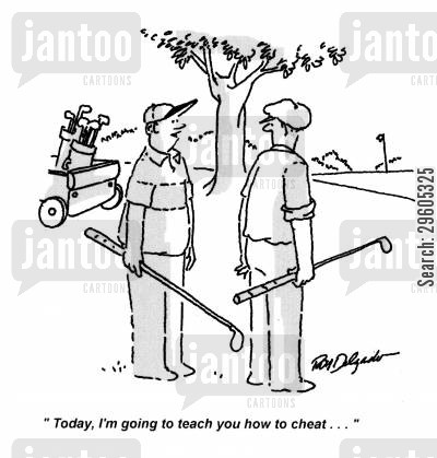 golf player cartoon humor: 'Today, I'm going to teach you how to cheat...'