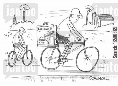 travel stickers cartoon humor: Well travelled cyclist