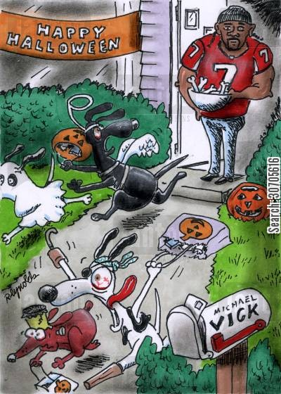 michael vick cartoon humor: Michael Vick's House.