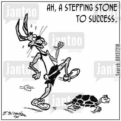 aesop cartoon humor: 'Ah, a stepping stone to success.'
