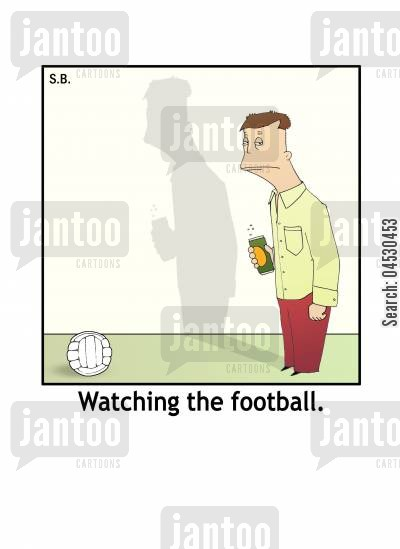 sports bar cartoon humor: Watching the football.
