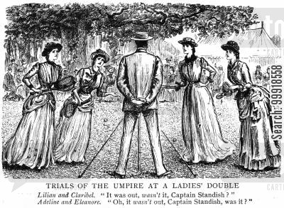 arguing cartoon humor: 'Trials of the umpire at a ladies' double.'