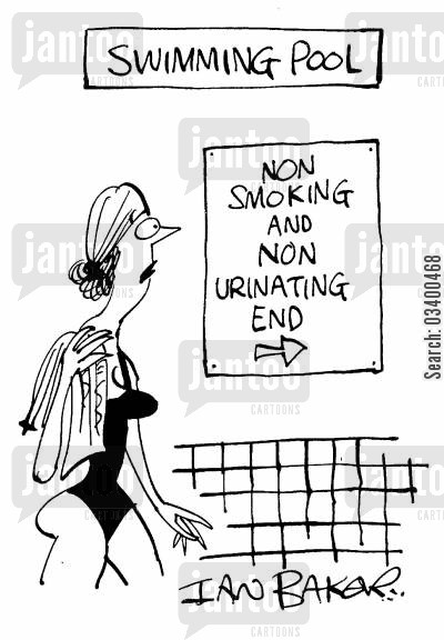 public baths cartoon humor: Non-Smoking and Non-Urinating End at Swimming Pool