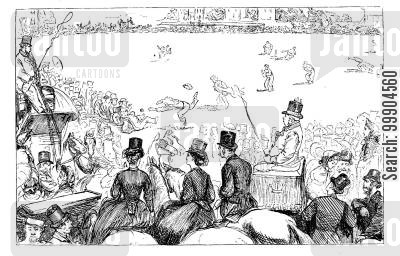 london society cartoon humor: The University Cricket Match - a sketch at Lord's.
