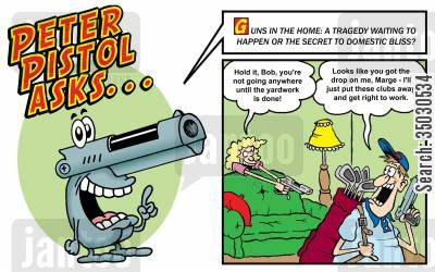 national rifle association cartoon humor: Guns in the home: a tragedy waiting to happen or the secret to domestic bliss?